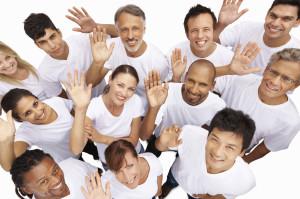 multi-ethnic-people-waving